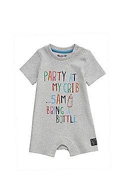 F&F Party At My Crib Slogan Romper - Grey
