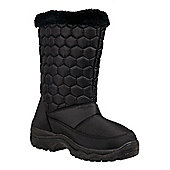 Frosty Womens Fur Trim Quilted Winter Snow Boots - Black