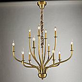 United Lights Buckingham 12 Light Chandelier in Brass