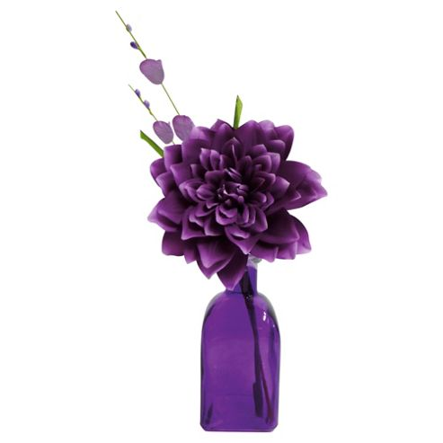 F&F Home purple dahlia flower in glass vase
