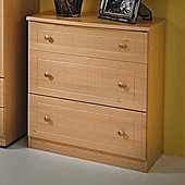 Welcome Furniture Warwick 3 Drawer Deep Chest - Cream with Oak Finishing