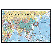 Black Wooden Framed Asia & The Middle East Map Poster