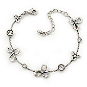 Vintage Inspired Crystal, Open Flower Delicate Bracelet In Antique Silver Metal - 17cm Length/ 6cm Extention