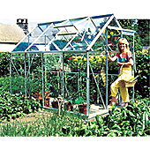 Europa Manor Princess Greenhouse – 6x8 - Natural Aluminium Finish + Base – Horticultural Glass