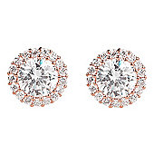 Rose gold plated stud earrings with medium crystal in pave surround