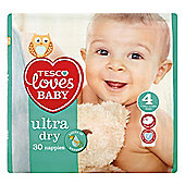 Tesco Loves Baby Ultra Dry Nappies - Size 4 - Maxi - Carry Pack - 30 Nappies