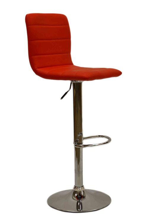 Horizon Red Faux Leather Bar Stool