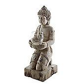 Driftwood Effect Kneeling Buddha Tealight Holder Ornament