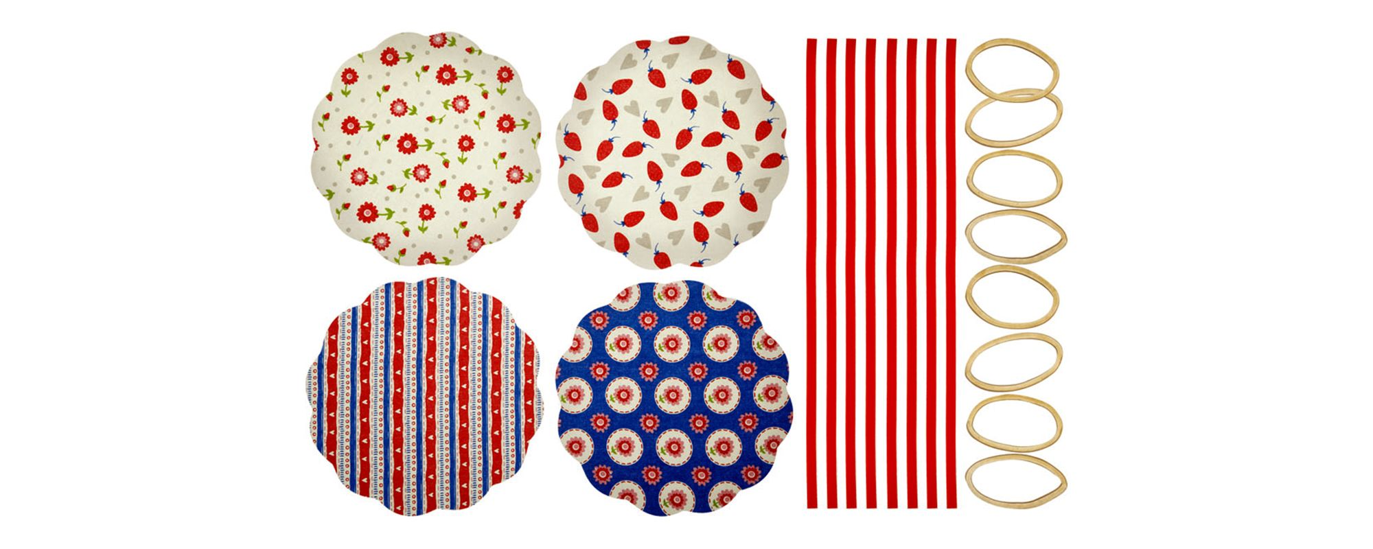 Kitchen Craft Home Made Pack of Eight Heart Patterned Fabric Jam Cover Kits