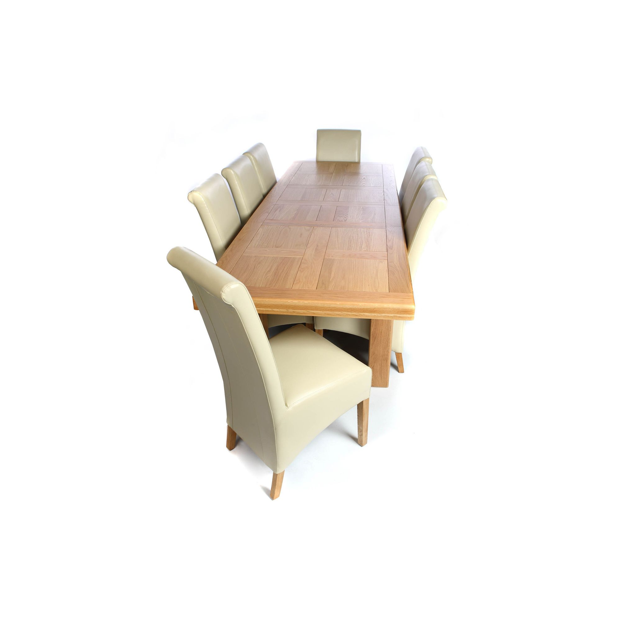 Shankar Enterprises Grand Marseille Extending Dining Table - Natural Oak - 180cm/260cm W x 90cm D
