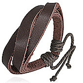 Urban Male Dark Brown Leather Multi Strand Wristband Bracelet For A Man