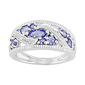 Gemondo Sterling Silver 0.99ct Natural Tanzanite & Diamond Classic Dress Ring