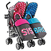 Cosatto Supa Dupa Twin Pushchairs Sis and Bro