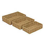 Wicker Valley Seagrass Rectangular Basket (Set of 3)