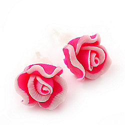 Children's Pretty Pink Acrylic 'Rose' Stud Earrings With Acrylic Backings - 9mm Diameter