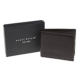 Equilibrium Mens Plain Brown Leather Wallet