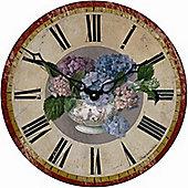 Roger Lascelles Clocks Hydrangea Motif Wall Clock