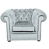 Snug City Club Chair Crushed Velvet Sky Chesterfield Sofa, Made In the UK.