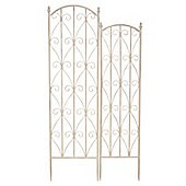Bentley Garden Wrought Iron White Flower Trellis - Set of 2