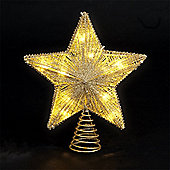 25cm/10in Gold Star Tree Topper with 10 Battery Operated Warm White LEDs