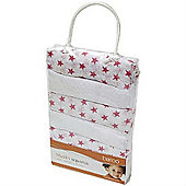 Baroo Muslin Squares Pack of 6 (White and Pink Stars)