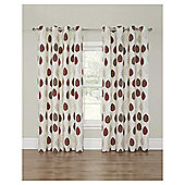 Leaf Printed Lined Eyelet Curtains - Red - 66 X 90