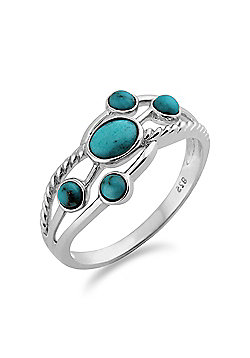 Gemondo Sterling Silver 0.45ct Turquoise Cabochon Contemporary Five Stone Ring