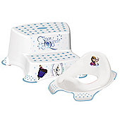 Disney Frozen Toddler Toilet Training Seat & Double Step Stool Combo - White