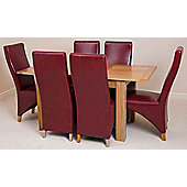 Hampton Solid Oak 120 cm Extending Dining Table with 6 Lola Leather Dining Chairs (Burgundy)