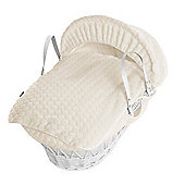 Isabella Alicia White Wicker Moses Basket (Bubble Cream)