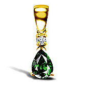 9ct Yellow Gold Diamond and Emerald Pendant