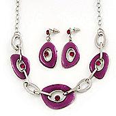Fuchsia Enamel Oval Geometric Chain Necklace & Drop Earrings Set In Rhodium Plating - 38cm Length/ 6cm Extension