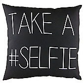 Take a Selfie Cushion Black and White