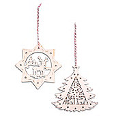 Set of Two Nordic Wooden Christms Tree Decorations