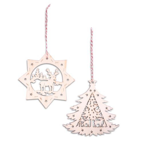 Set of Two Nordic Wooden Christmas Tree Decorations