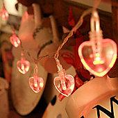 10 Red LED Heart Battery Fairy Lights