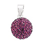Jewelco London Rhodium-Coated Sterling Silver Violet Crystal Shamballa Pendant
