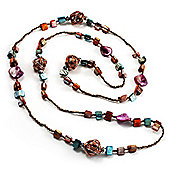 Long Multicoloured Shell & Glass Bead Necklace