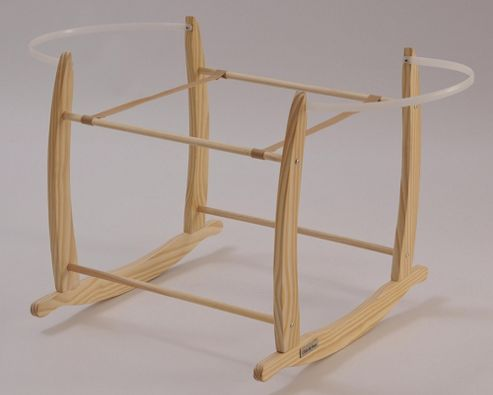 Clair de lune Deluxe Wooden Rocking Moses Basket/Bassinette Stand in Natural