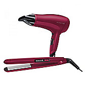 Remington D3010GP 2000w Hair Dryer & Ceramic Straighteners Gift Pack in Pink