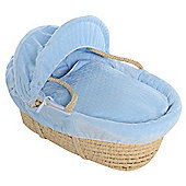Boys Blue Bubble Maize Moses Basket With Breathable Safety Foam Mattress