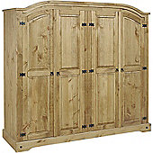 Corona Mexican 4 Door Wardrobe Distressed Waxed Pine
