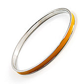 Yellow Thin Enamel Metal Bangle