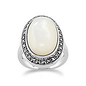 Gemondo 925 Sterling Silver Mother of Pearl & Marcasite Oval Ring