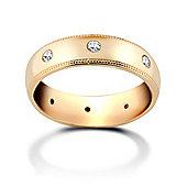 Jewelco London 9ct Yellow Gold 3mm Court Mill-Grain Diamond set 16pts Eternity Wedding / Commitment Ring
