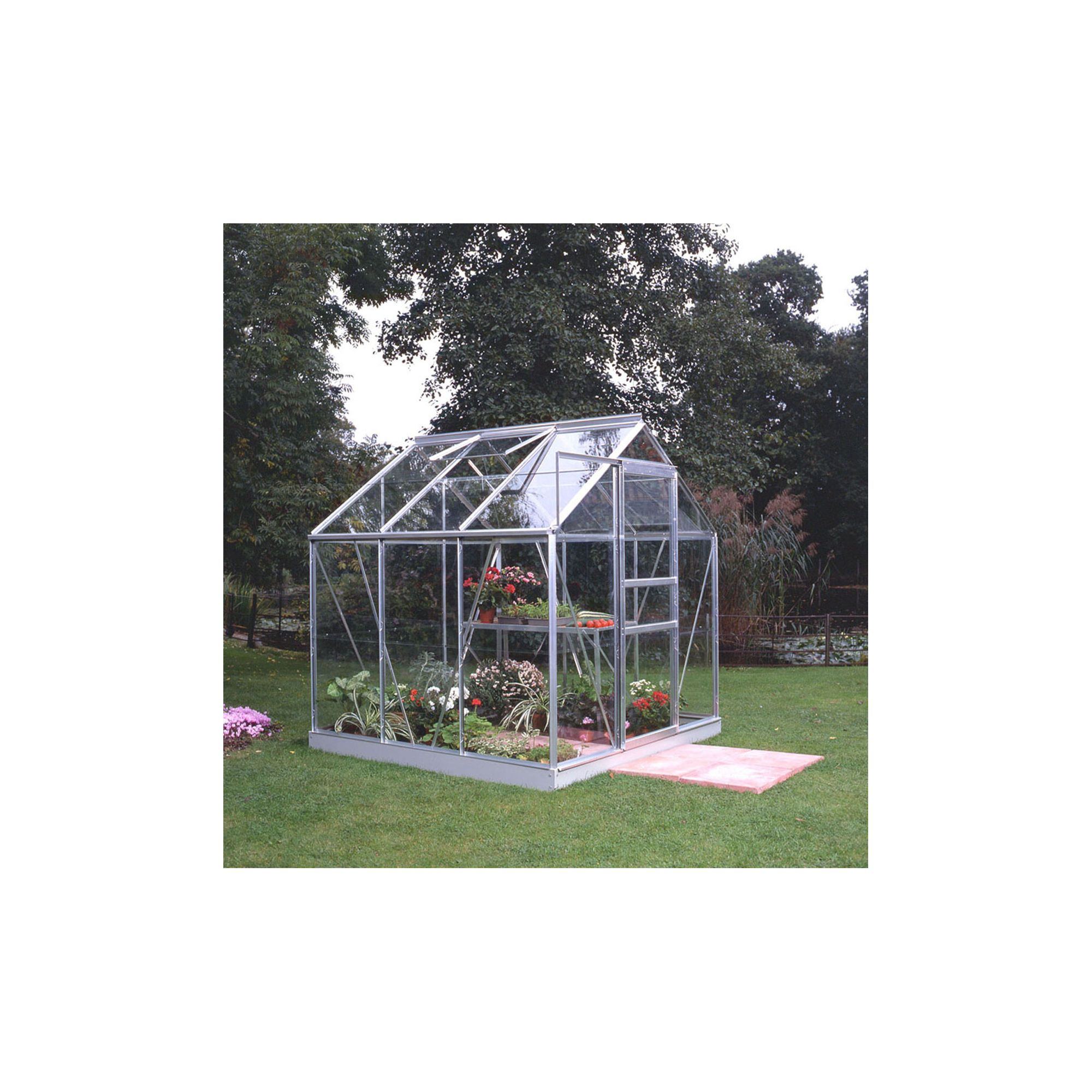 Halls 6x6 Popular Greenhouse + Base - Toughened Glass at Tesco Direct