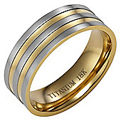 Willis Judd New Mens Two Tone 8mm Titanium Band Ring