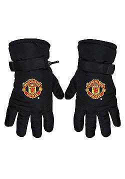 Manchester United Insulated Winter Ski Gloves Black