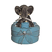 Baby Boy Blue Nappy Cake with Dumbo Elephant (Single Tier)