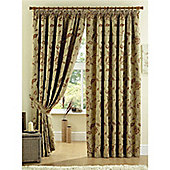 Curtina Maybury 3 Pencil Pleat Lined Curtains 90x90 inches (228x228cm) - Terracotta